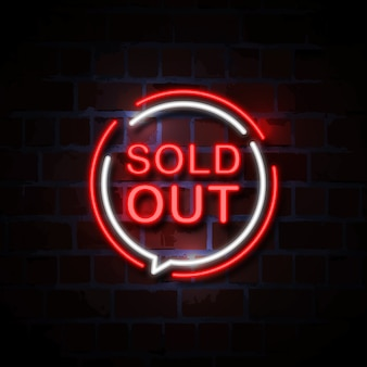 Sold out neon style sign illustration