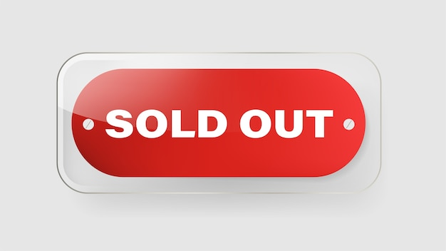 Sold out red banner label and tag ribbon vector design.
