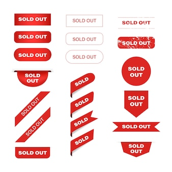 Sold out red banner label and tag ribbon.