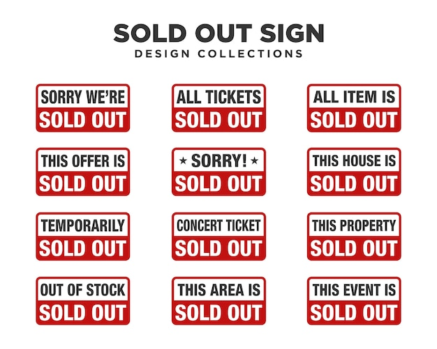 Sold out sign sets