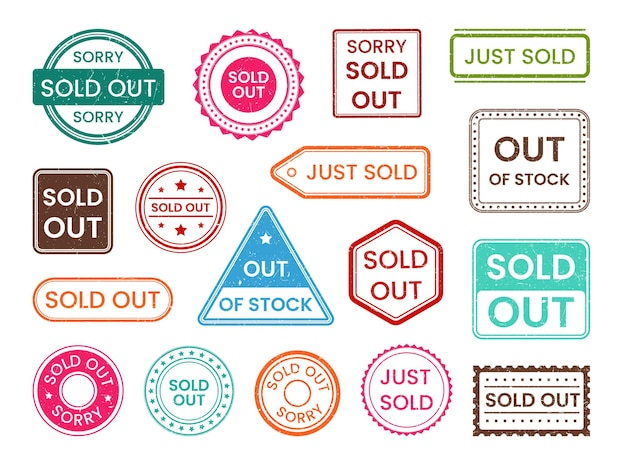 Sold out stamp, out of stock shopping sale label post mark. set of ink grunge scratched insignia marketing note, approved retail overdue, selling finish imprint vector illustration isolated on white
