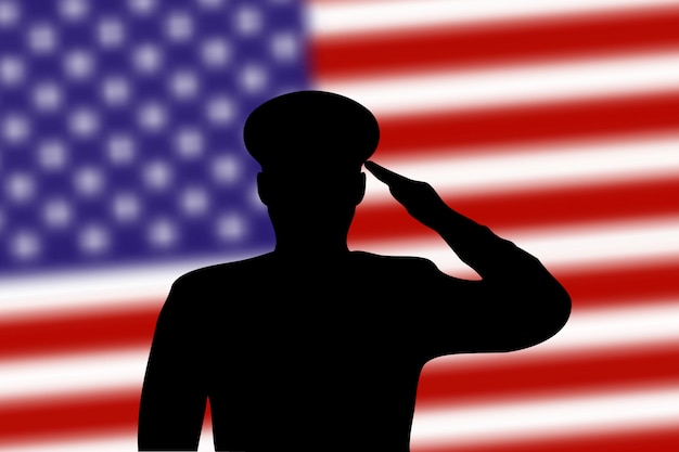 Solder silhouette on blur background with united states flag
