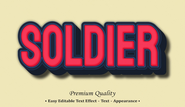 Soldier 3d editable text style effect