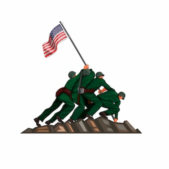 Soldier american flag raising in iwo jima battle 26 march 1945. patriotic cartoon illustration vector isolated