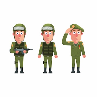 Soldier army man uniform character icon set concept in cartoon