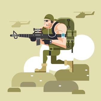 Soldier in camouflage uniform flat illustration