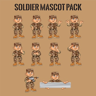 Soldier character in different poses
