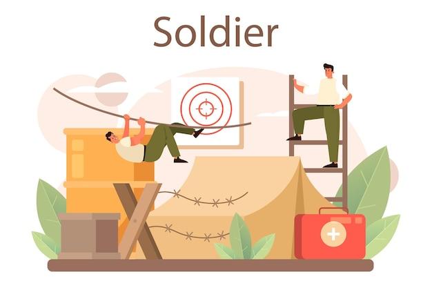 군인 개념입니다. 무기로 위장한 군인. 육군 장비 및 기술. 전쟁 전략과 전술. 격리 된 평면 벡터 일러스트 레이 션