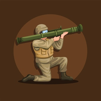 Soldier crouch holding anti tank rocket launcher