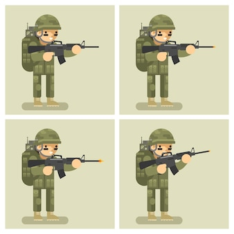 兵士のフラットデザインのアニメーションショット武器。命令行為の動き、自動および射手、暴行または攻撃、制服の戦士