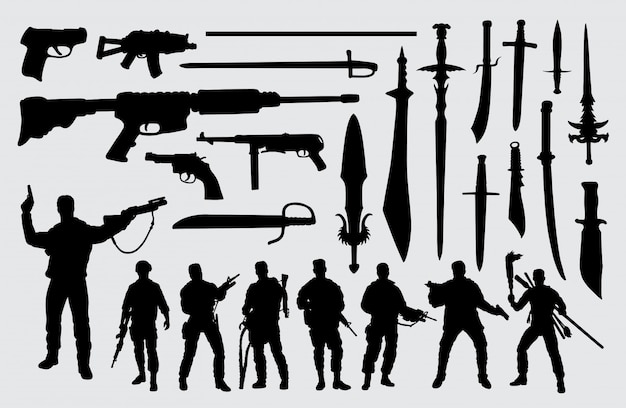 Soldier, gun and sword silhouette