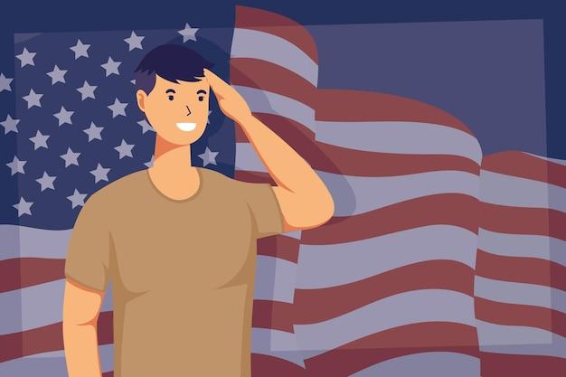 アメリカの国旗を持つ兵士の男の職業