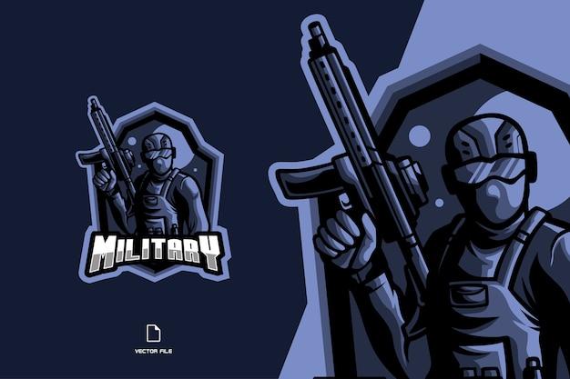 Eスポーツゲームのロゴイラストの兵士のマスコットキャラクター漫画