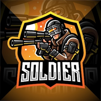 군인 마스코트 esport 게임 로고 디자인