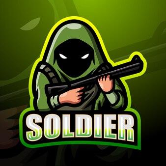 兵士のマスコットeスポーツのロゴデザイン
