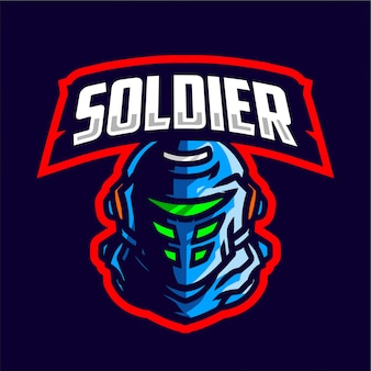 Soldier mascot gaming logo