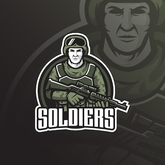 Soldier  mascot logo design with modern illustration concept style for badge, emblem and tshirt printing.