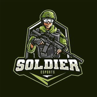 Soldier mascot logo for esport and sport