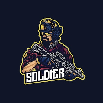 Soldier mascot logo holding weapon