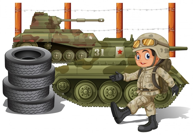 Soldier and military tanks