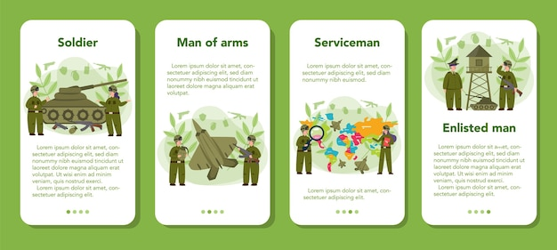 Баннер мобильного приложения солдат в плоском дизайне