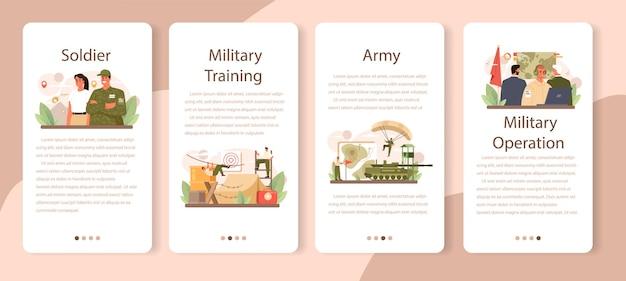 군인 모바일 응용 프로그램 배너 세트