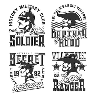 Soldier, pirate and wild west ranger warriors  mascots  design. monochrome emblem, isolated labels with typography