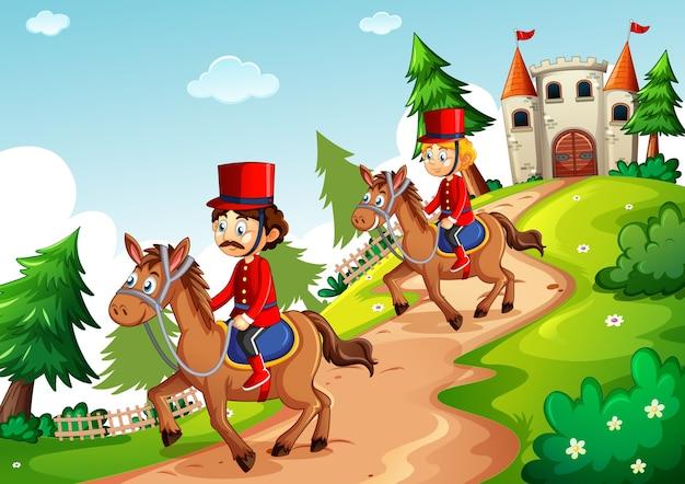 Солдат верхом на лошади с фантастическим замком в мультяшном стиле