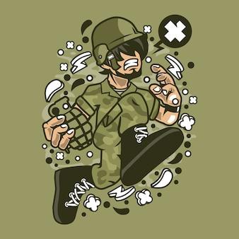 Soldier running cartoon