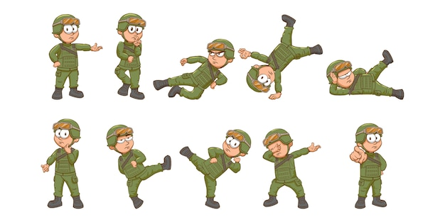 Soldier  set collection graphic clipart design