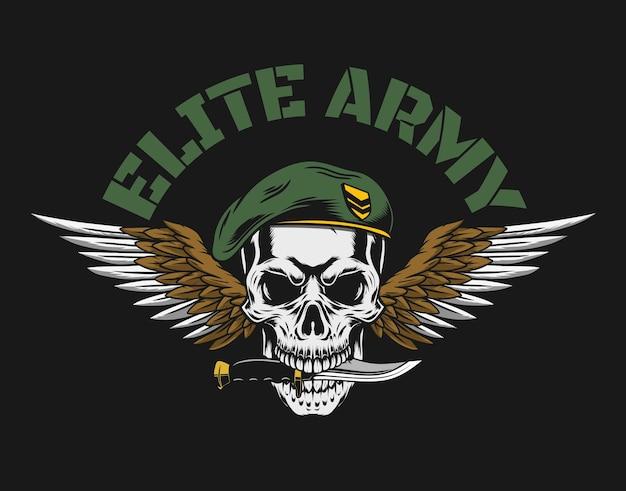 Солдат череп иллюстрация винтажный стиль с темным контуром