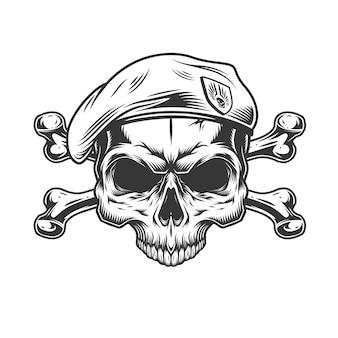 ベレー帽に顎のない兵士の頭蓋骨