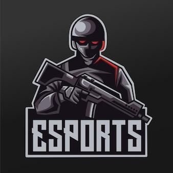 Logo esport gaming teamsquadのカービンマスコットスポーツイラストデザインの兵士スペースファントム