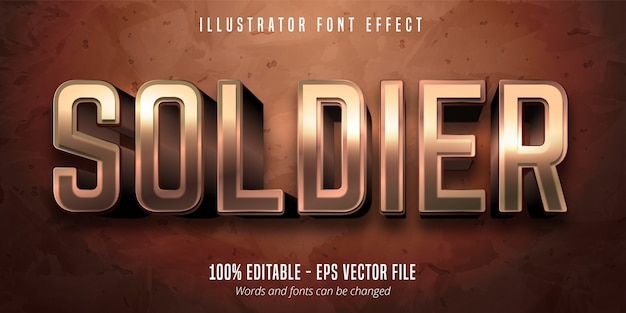 Soldier text, 3d bronze metallic style editable font effect