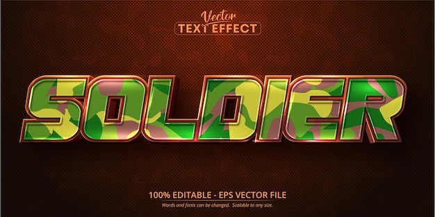 Soldier text, cartoon style editable text effect