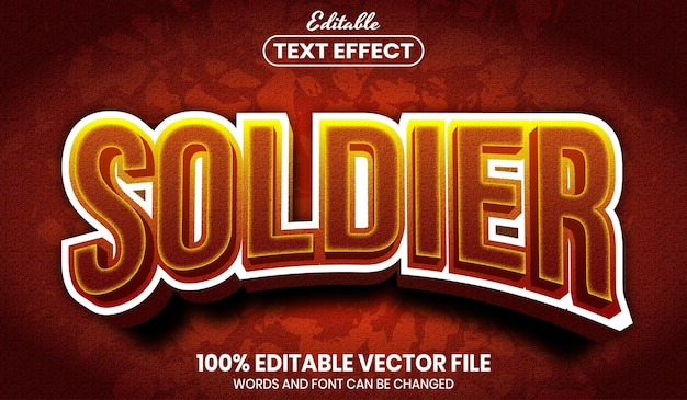 Soldier text, editable text effect