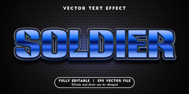 Soldier text effect, editable text style