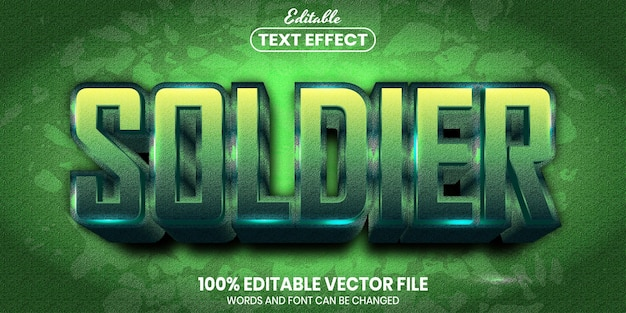 Soldier text, font style editable text effect