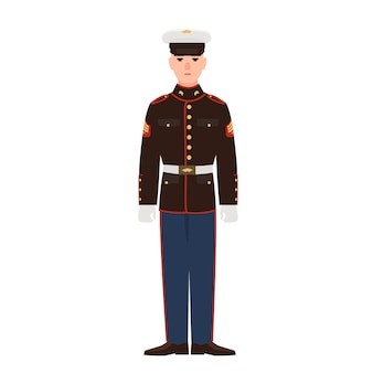 Soldier of usa armed force wearing parade uniform and cap. american military man, sergeant or infantryman isolated on white background. male cartoon character. flat colorful vector illustration.