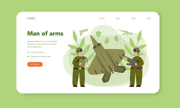 兵士のウェブバナーまたはランディングページのイラスト