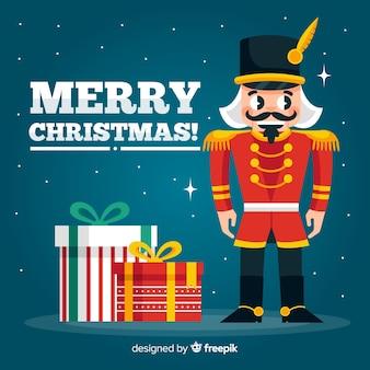 贈り物のクリスマスの背景と兵士