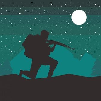 밤에 소총 그림 실루엣으로 군인