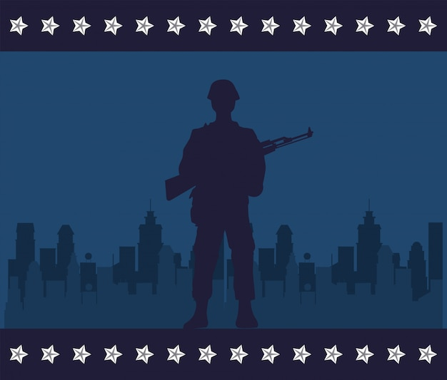 Soldier with rifle figure silhouette in cityscape vector illustration design