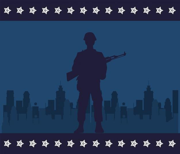 都市の景観ベクトルイラストデザインでライフルフィギュアシルエットの兵士