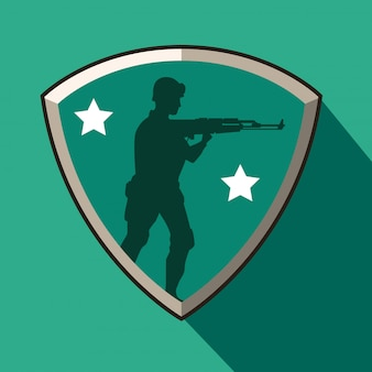 シールドのライフル図シルエットの兵士