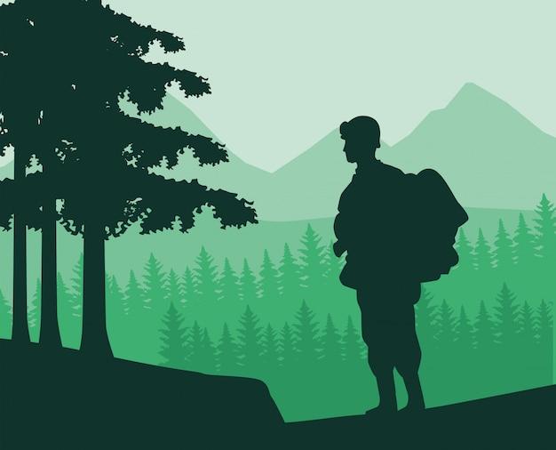 Солдат с винтовкой фигура силуэт в джунглях
