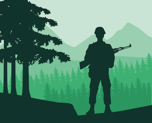 ジャングルの中でライフルの図のシルエットを持つ兵士