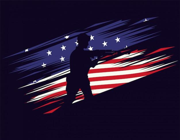 アメリカの国旗のライフルフィギュアシルエットの兵士