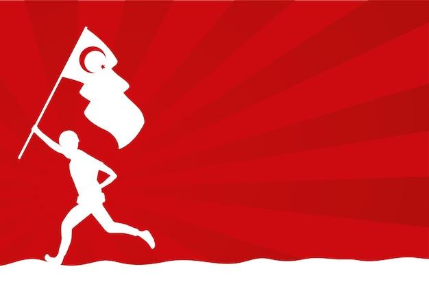 Солдат с изолированной страной флаг турции