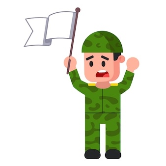 Soldier with white flag. green camouflage form. surrender. flat vector illustration.